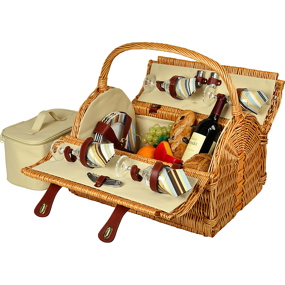 Picnic at Ascot Yorkshire Willow Picnic Basket with Service for 4 Wicker w/Santa Cruz - Picnic at Ascot Outdoor Accessories - Outdoor, Outdoor Accessories
