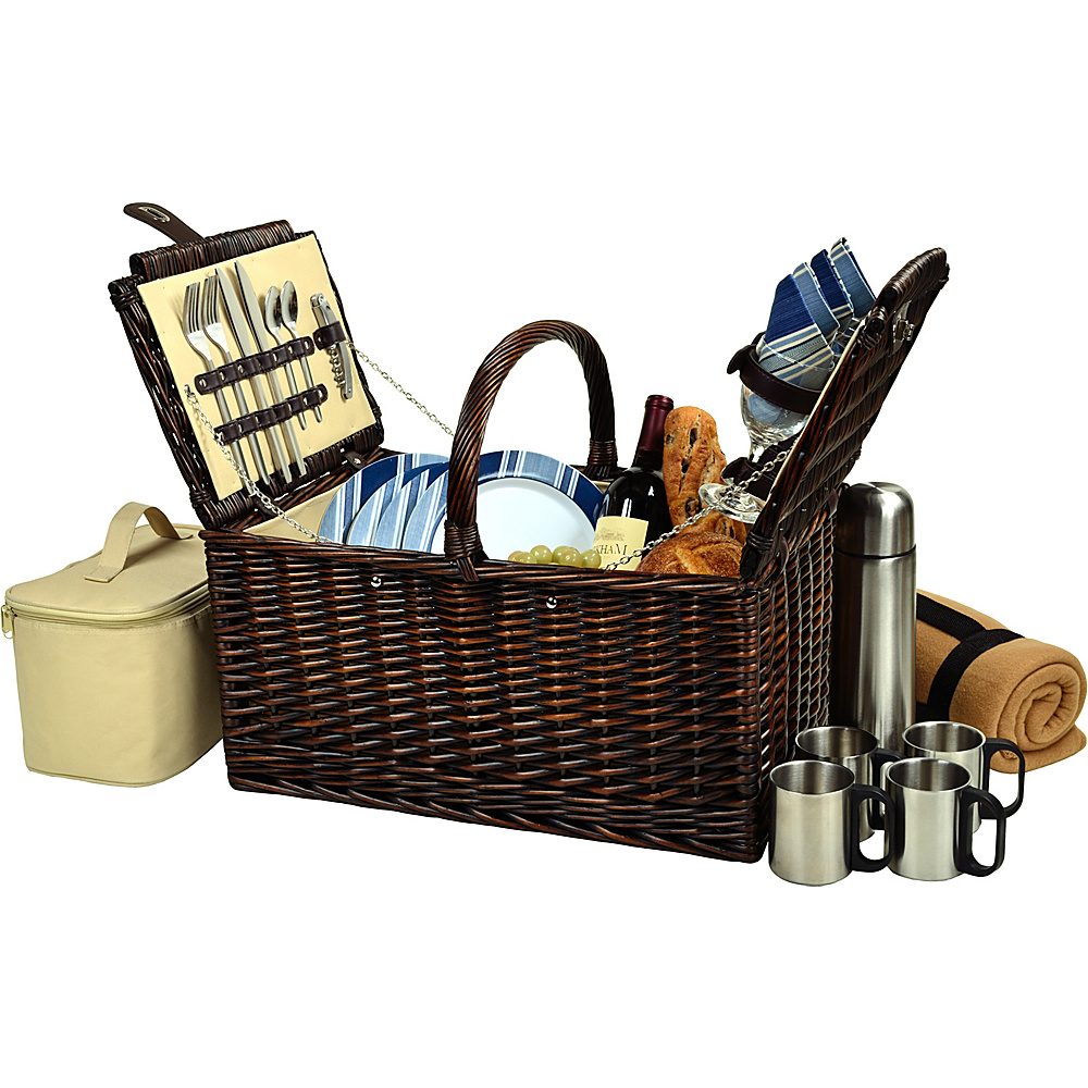 Picnic at Ascot Buckingham Picnic Willow Picnic Basket with Service for 4 with Blanket and Coffee Service Brown Wicker/Blue Stripe - Picnic at Ascot Outdoor Accessories - Outdoor, Outdoor Accessories