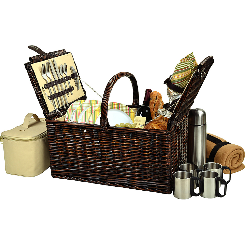 Picnic at Ascot Buckingham Picnic Willow Picnic Basket with Service for 4 with Blanket and Coffee Service Brown Wicker/Hamptons - Picnic at Ascot Outdoor Accessories - Outdoor, Outdoor Accessories