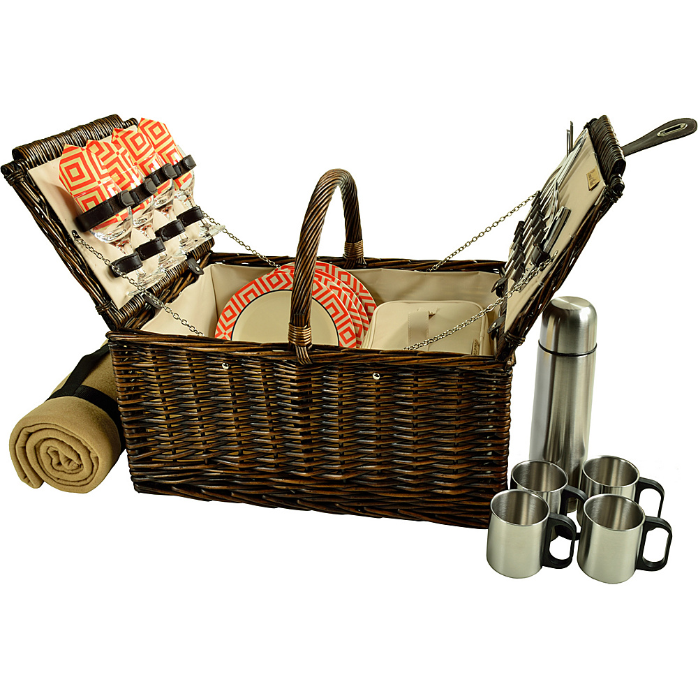 Picnic at Ascot Buckingham Picnic Willow Picnic Basket with Service for 4 with Blanket and Coffee Service Brown Wicker/Diamond Orange - Picnic at Ascot Outdoor Accessories - Outdoor, Outdoor Accessories