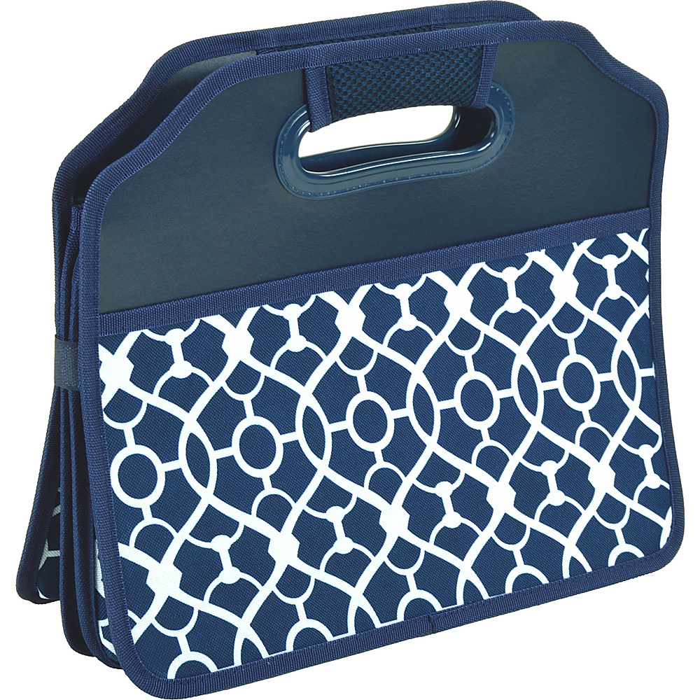 Picnic at Ascot Original Folding Trunk Organizer, designed by Picnic at Ascot Trellis Blue - Picnic at Ascot Trunk and Transport Organization - Travel Accessories, Trunk and Transport Organization
