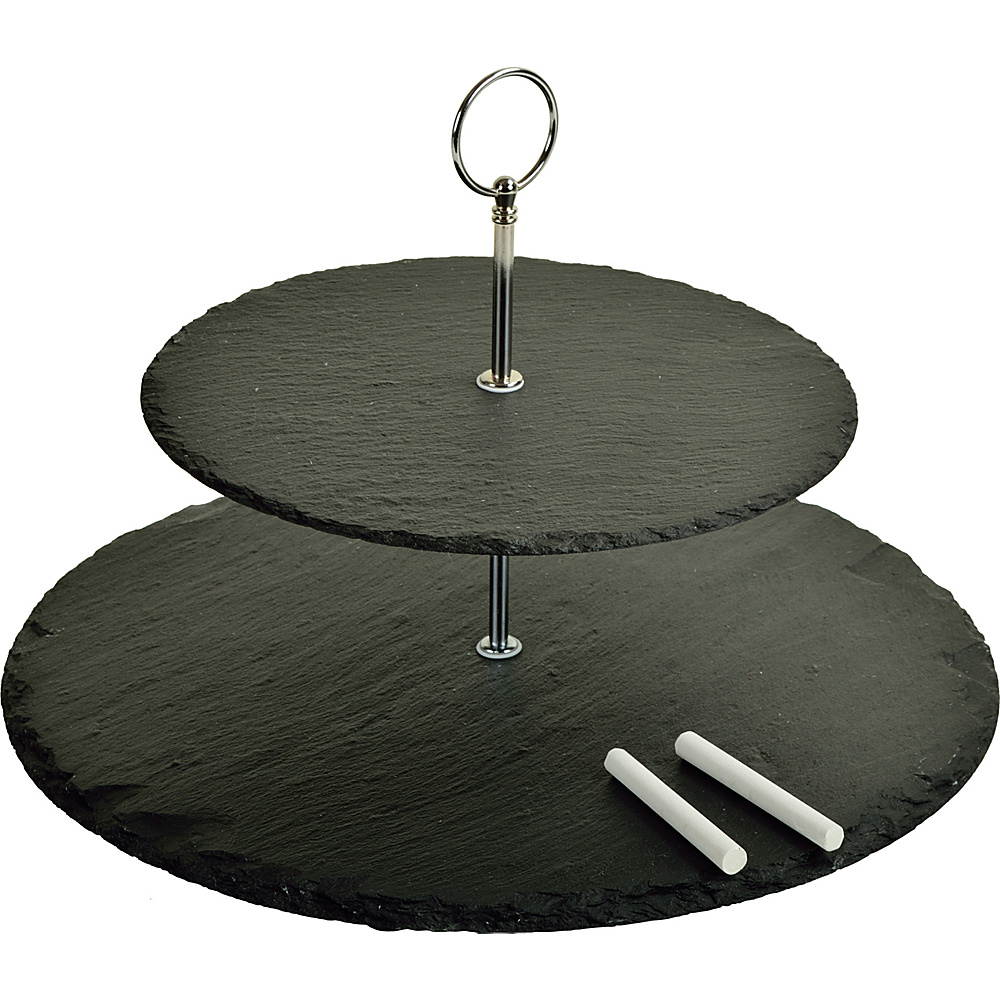 Picnic at Ascot Serat 2-Layer Slate Cheese Board with Soapstone Chalk Black Slate - Picnic at Ascot Outdoor Accessories - Outdoor, Outdoor Accessories