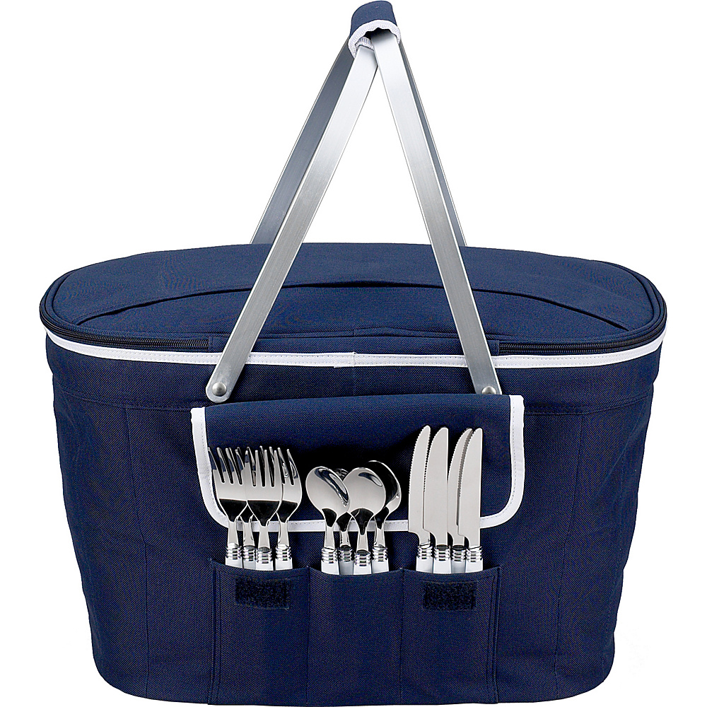 Picnic at Ascot Collapsible Insulated Picnic Basket Equipped with Service For 4 Navy - Picnic at Ascot Outdoor Coolers - Outdoor, Outdoor Coolers