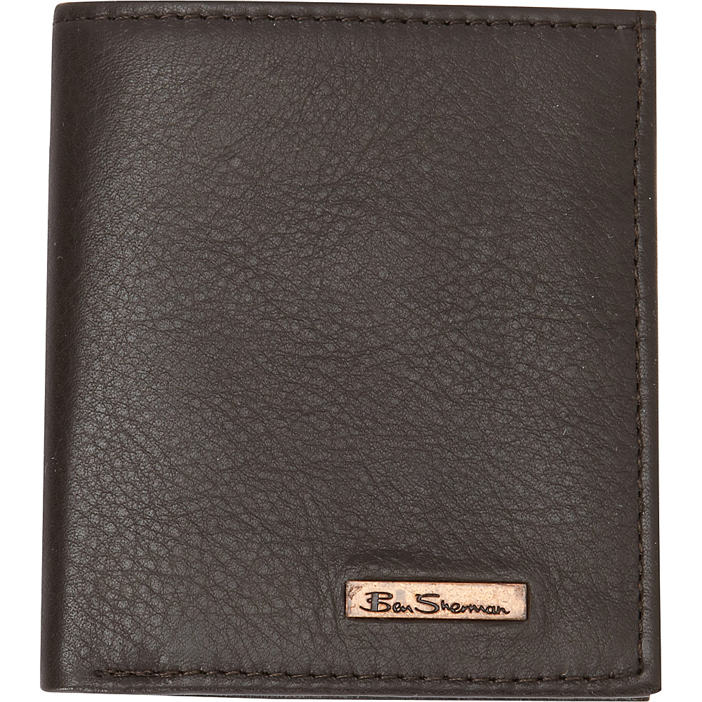 Ben Sherman Luggage Hackney Collection Leather RFID Slim Square Passcase Wallet Brown Ben Sherman Luggage Men s Wallets