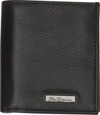 Ben Sherman Luggage Hackney Collection Leather RFID Slim Square Passcase Wallet Black - Ben Sherman Luggage Men's Wallets
