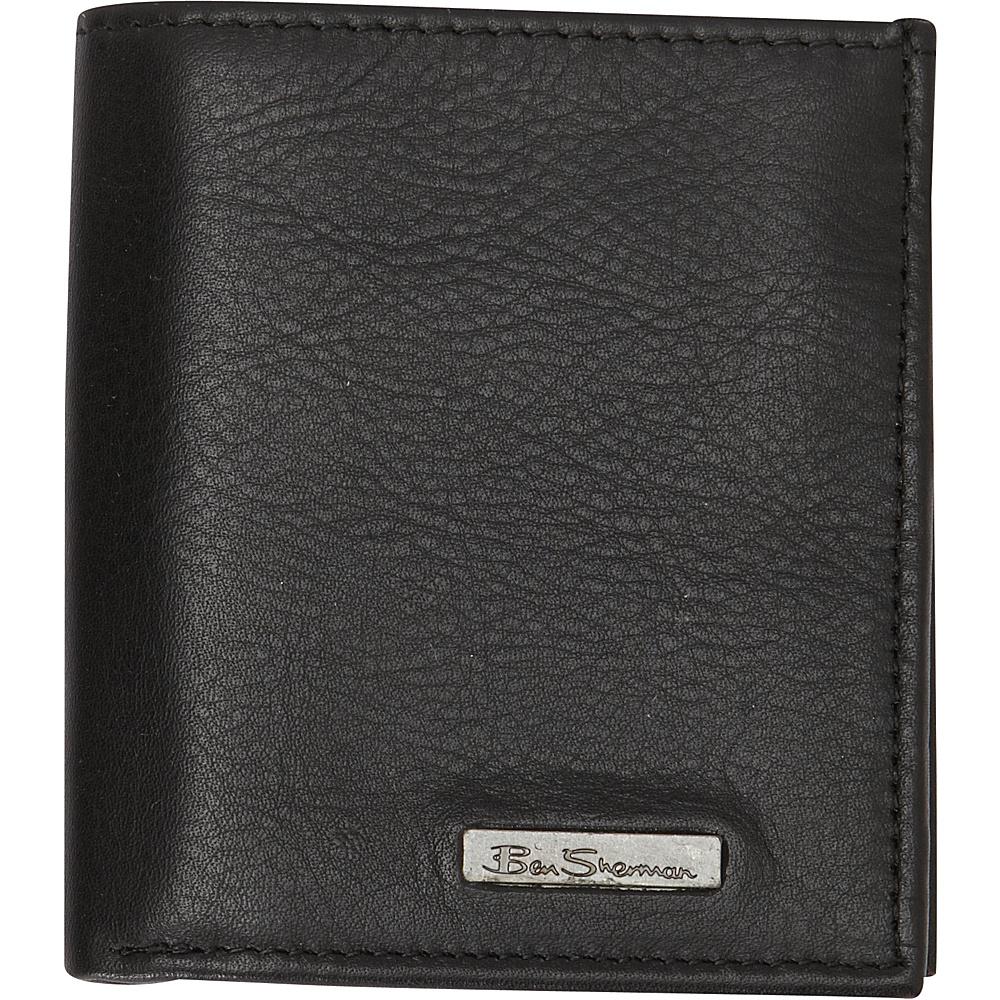 Ben Sherman Luggage Hackney Collection Leather RFID Slim Square Passcase Wallet Black Ben Sherman Luggage Men s Wallets
