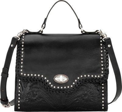 American West Hidalgo Top Handle Convertible Flap Bag Black - American West Leather Handbags