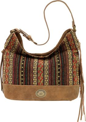 Image of Bandana Serape Shoulder Bag Medium Brown / Autumn Leaves - Bandana Manmade Handbags