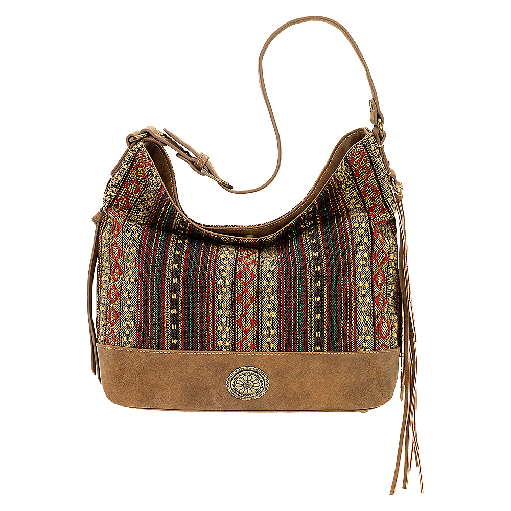 Bandana Serape Shoulder Bag Medium Brown Autumn Leaves Bandana Manmade Handbags