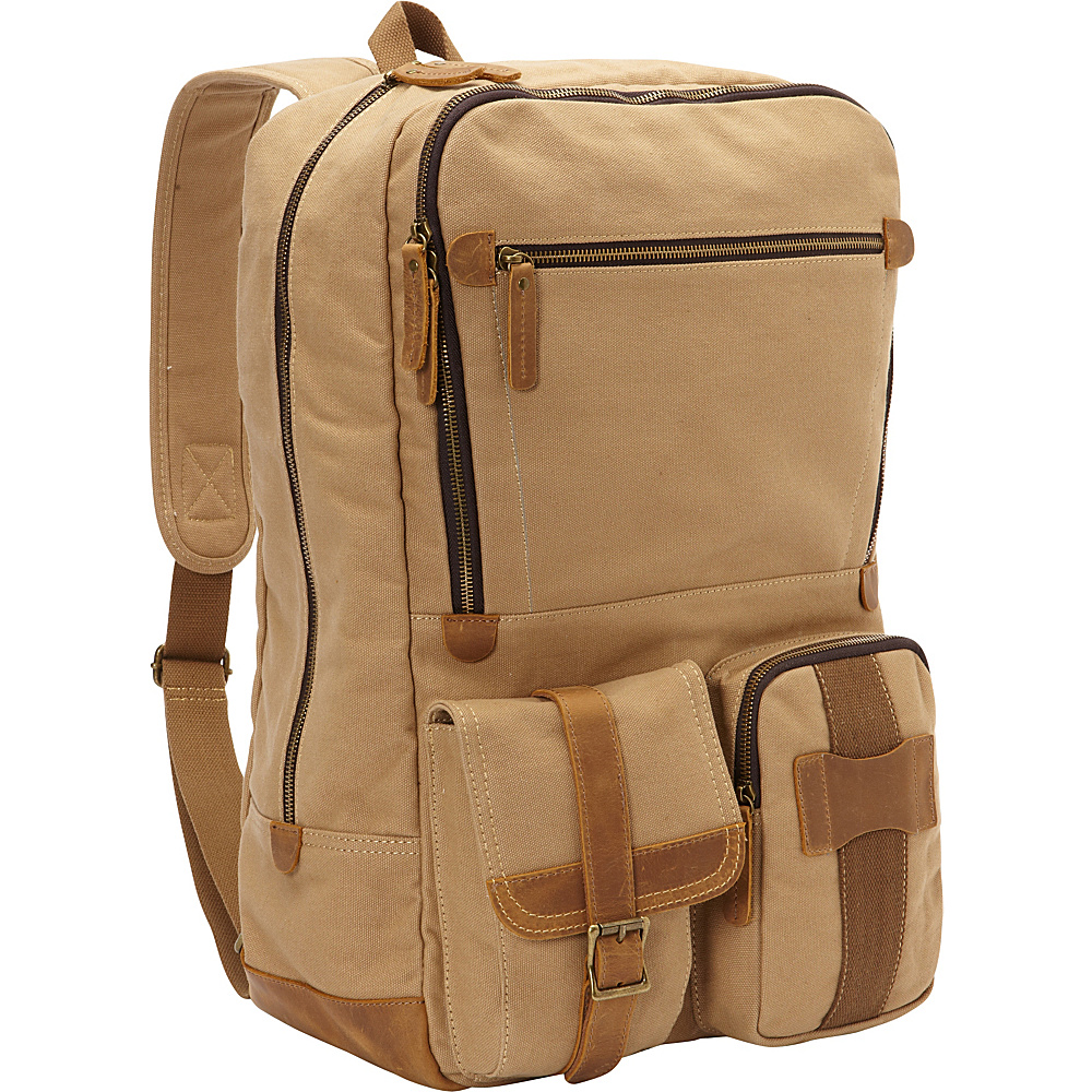 Vagabond Traveler Classic Super Large Canvas Backpack Khaki - Vagabond Traveler Everyday Backpacks - Backpacks, Everyday Backpacks