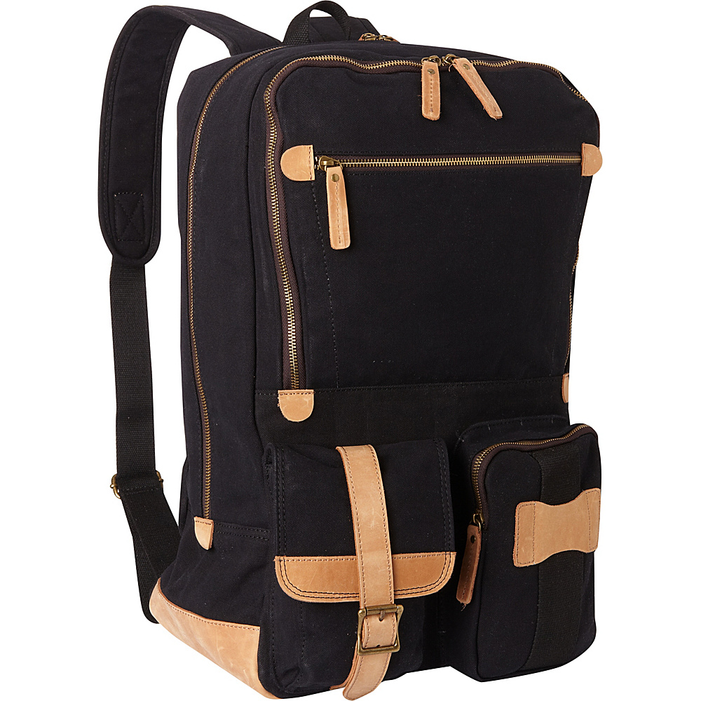 Vagabond Traveler Classic Super Large Canvas Backpack Black - Vagabond Traveler Everyday Backpacks - Backpacks, Everyday Backpacks