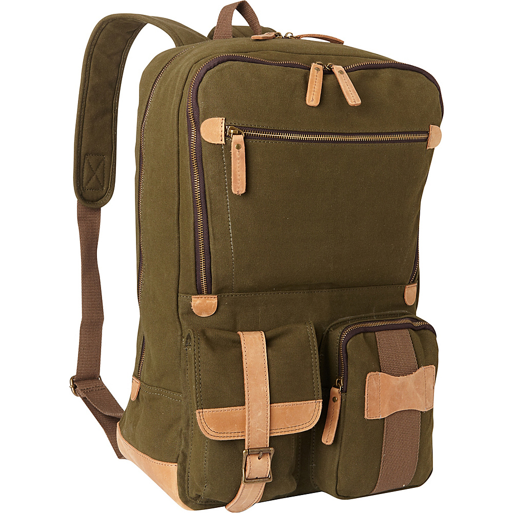 Vagabond Traveler Classic Super Large Canvas Backpack Green - Vagabond Traveler Everyday Backpacks - Backpacks, Everyday Backpacks