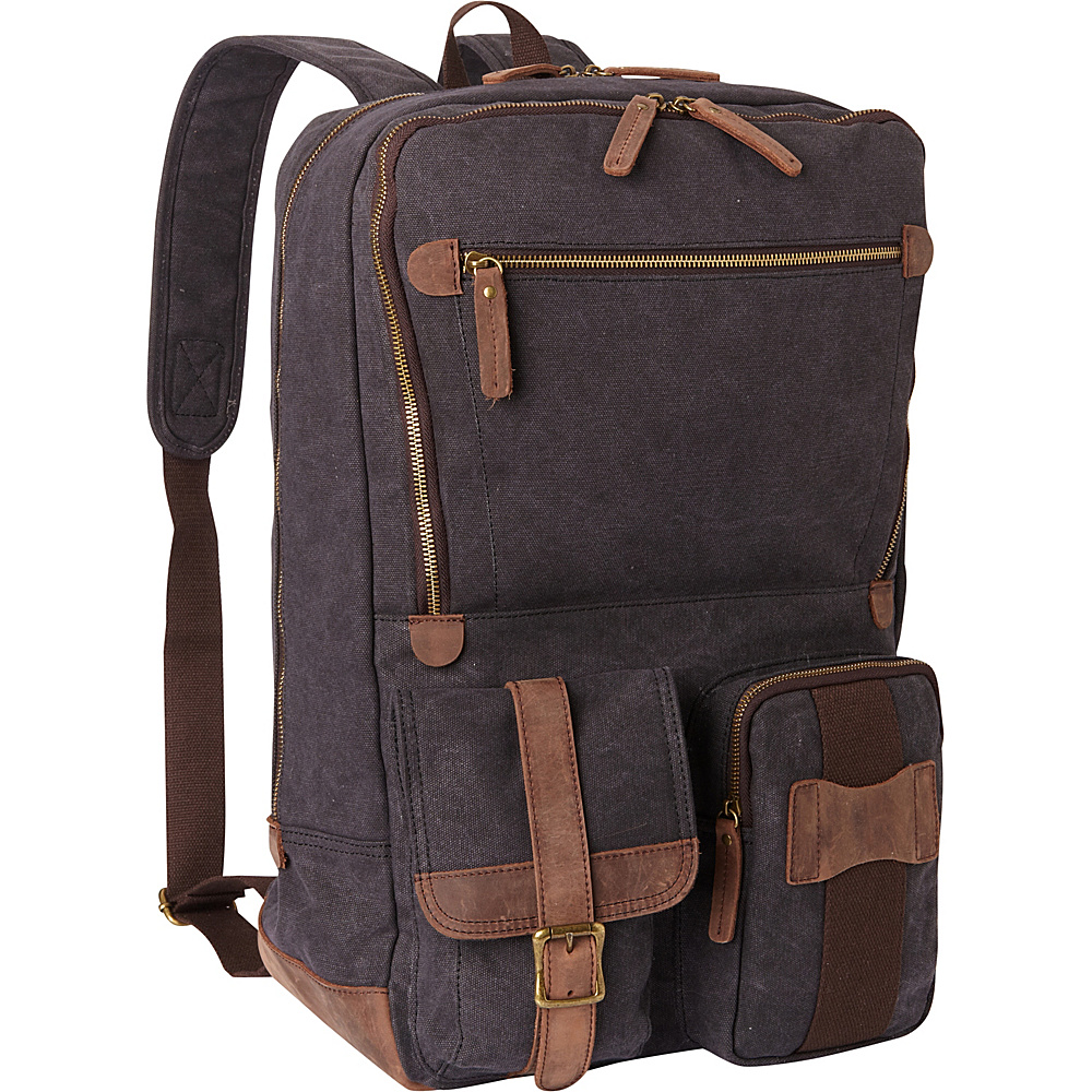 Vagabond Traveler Classic Super Large Canvas Backpack Grey - Vagabond Traveler Everyday Backpacks - Backpacks, Everyday Backpacks
