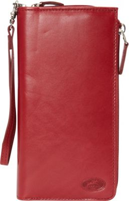 Mancini Leather Goods Manchester Collection: Ladies RFID Trifold Wallet Red - Mancini Leather Goods Women's Wallets