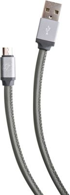 S. Taylor London Genuine Leather Micro USB Charge & Sync cable Steel Grey - S. Taylor London Electronic Accessories