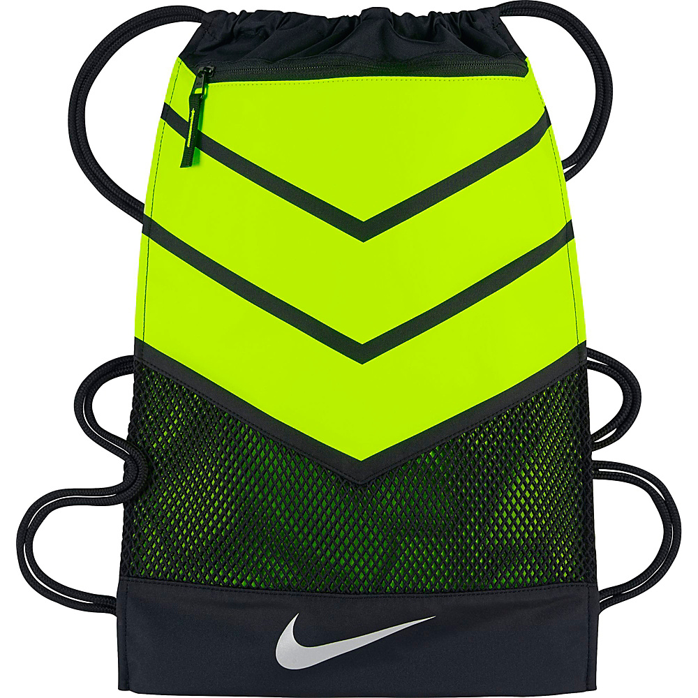 Nike Vapor Gymsack 2.0 Black Volt Metallic Silver Nike Everyday Backpacks