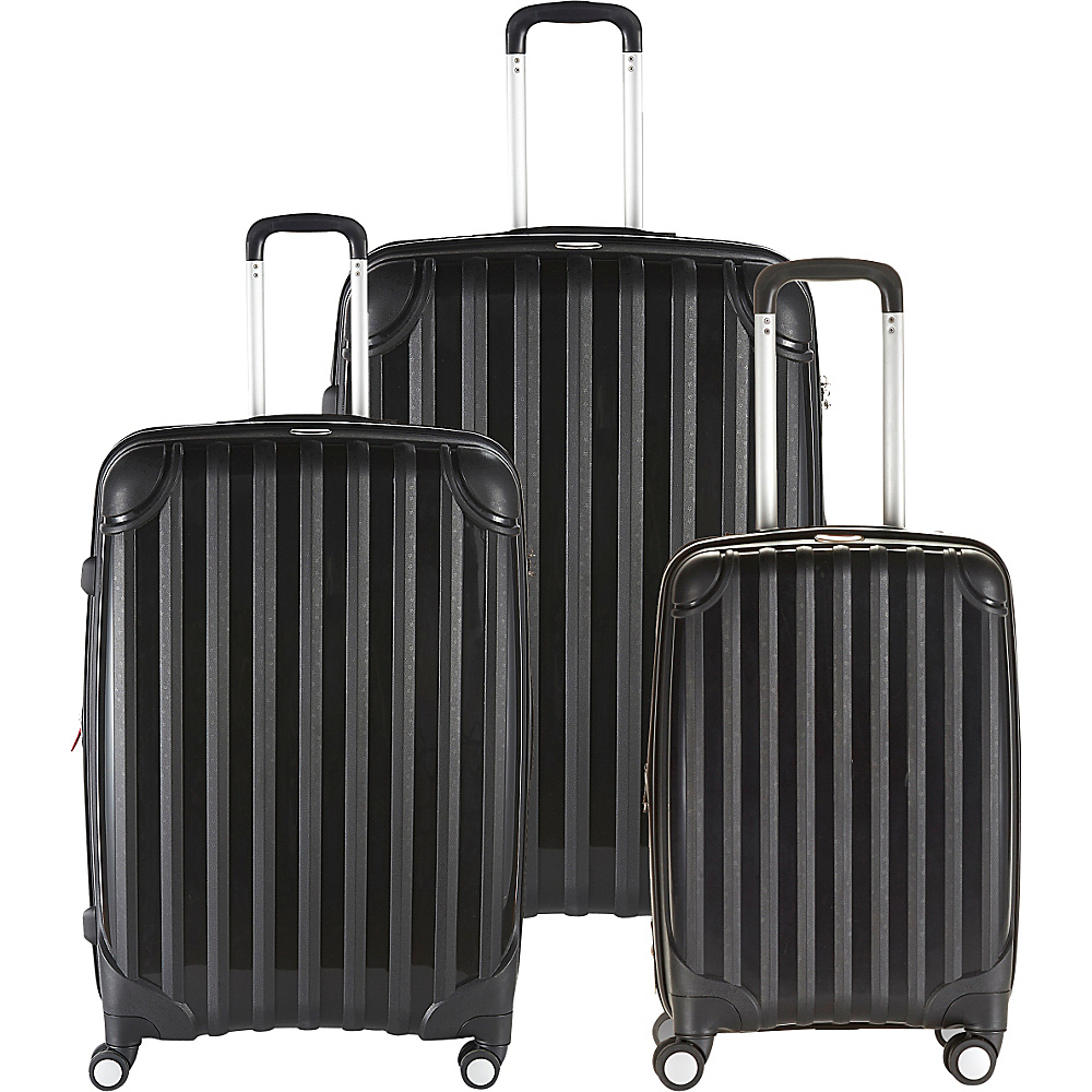 Andare Miami 8 Wheel Spinner Upright 3 Piece Luggage Set Black Andare Luggage Sets