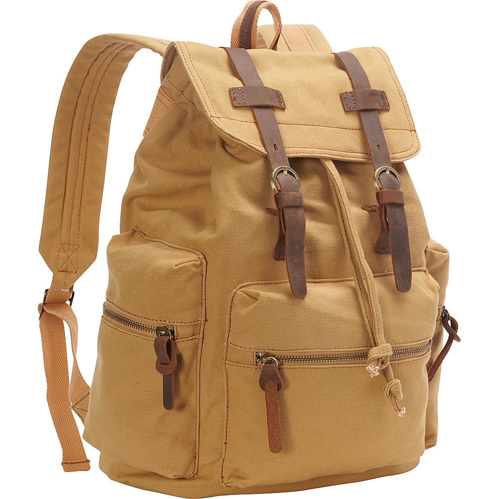 Vagabond Traveler Medium Canvas Laptop Backpack Khaki - Vagabond Traveler Business & Laptop Backpacks - Backpacks, Business & Laptop Backpacks