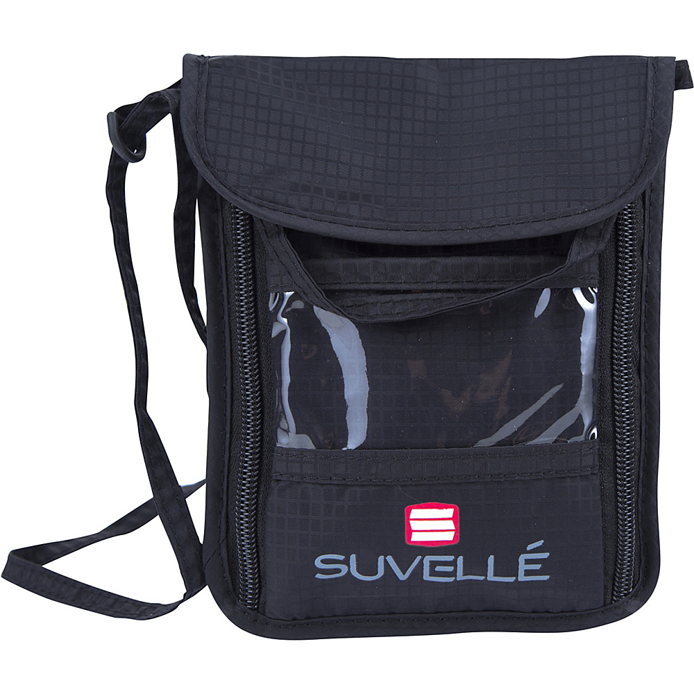 Suvelle RFID Neck Pouch Organizer and Travel Wallet Black Suvelle Travel Wallets