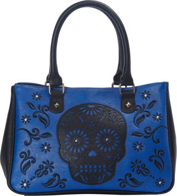 Loungefly Laser Cut Skull Blue Tote Blue/Black - Loungefly Manmade Handbags