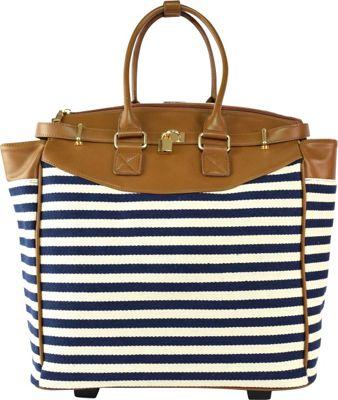 Tara's Travelers Nautical Stripes Carry-On Trolley Sapphire Stripes - Tara's Travelers Softside Carry-On
