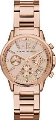 A/X Armani Exchange Lady Banks Chronograph Watch Rose Gold - A/X Armani Exchange Watches