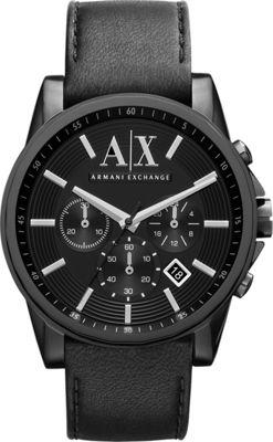 A/X Armani Exchange Smart Leather Chronograph Watch Black - A/X Armani Exchange Watches
