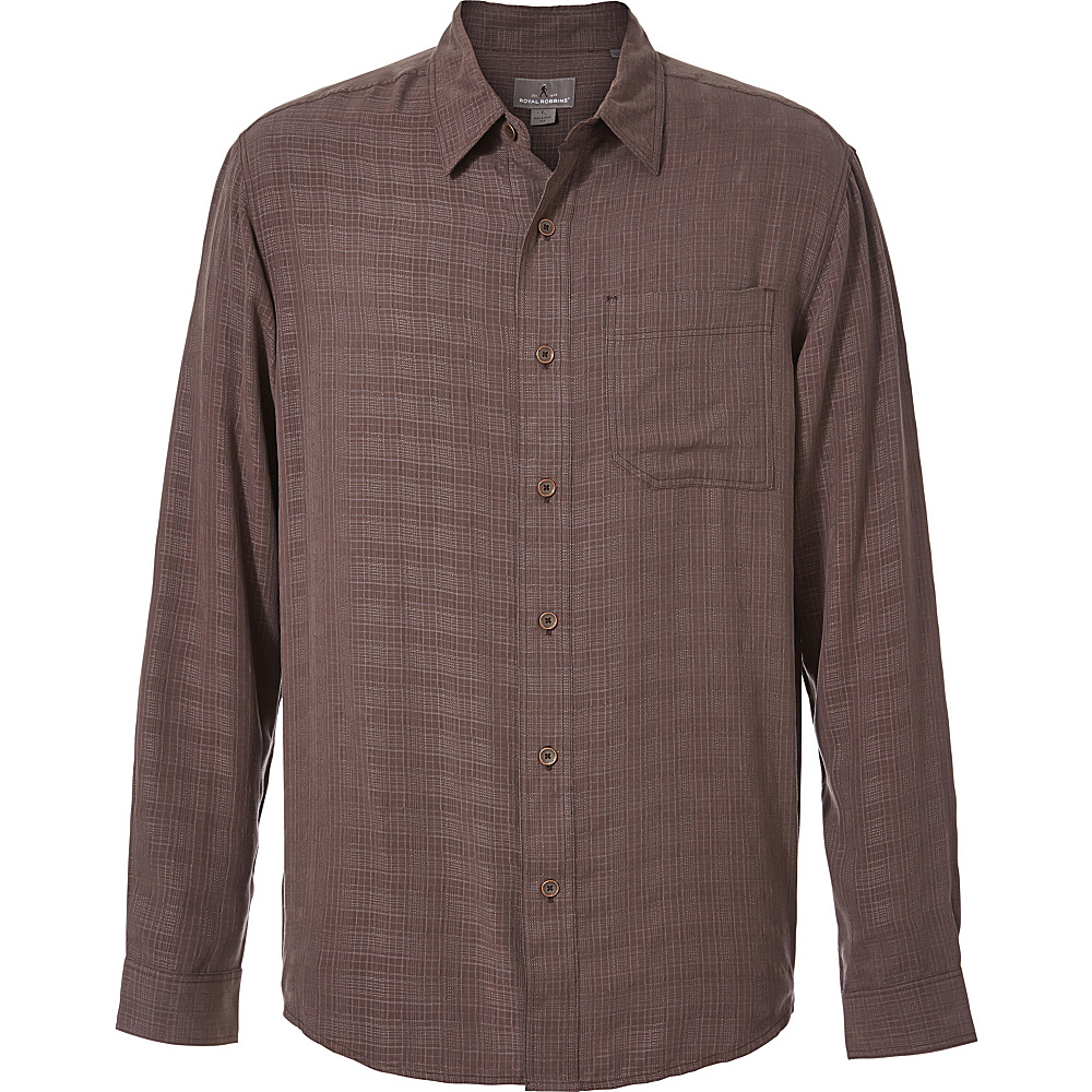 Royal Robbins San Juan Plaid Long Sleeve Top M - Dark Chestnut - Royal Robbins Mens Apparel - Apparel & Footwear, Men's Apparel