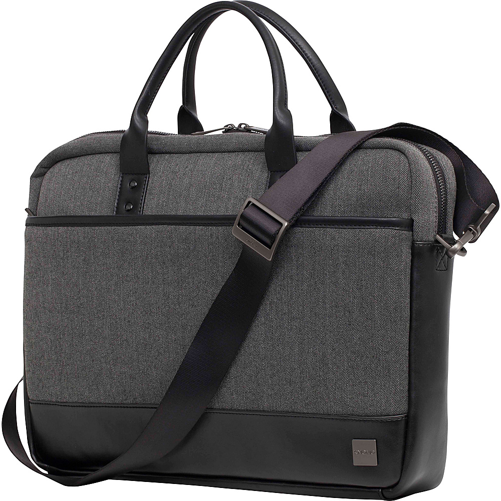 KNOMO London Holborn Princeton Laptop Brief Black Grey Heather KNOMO London Non Wheeled Business Cases