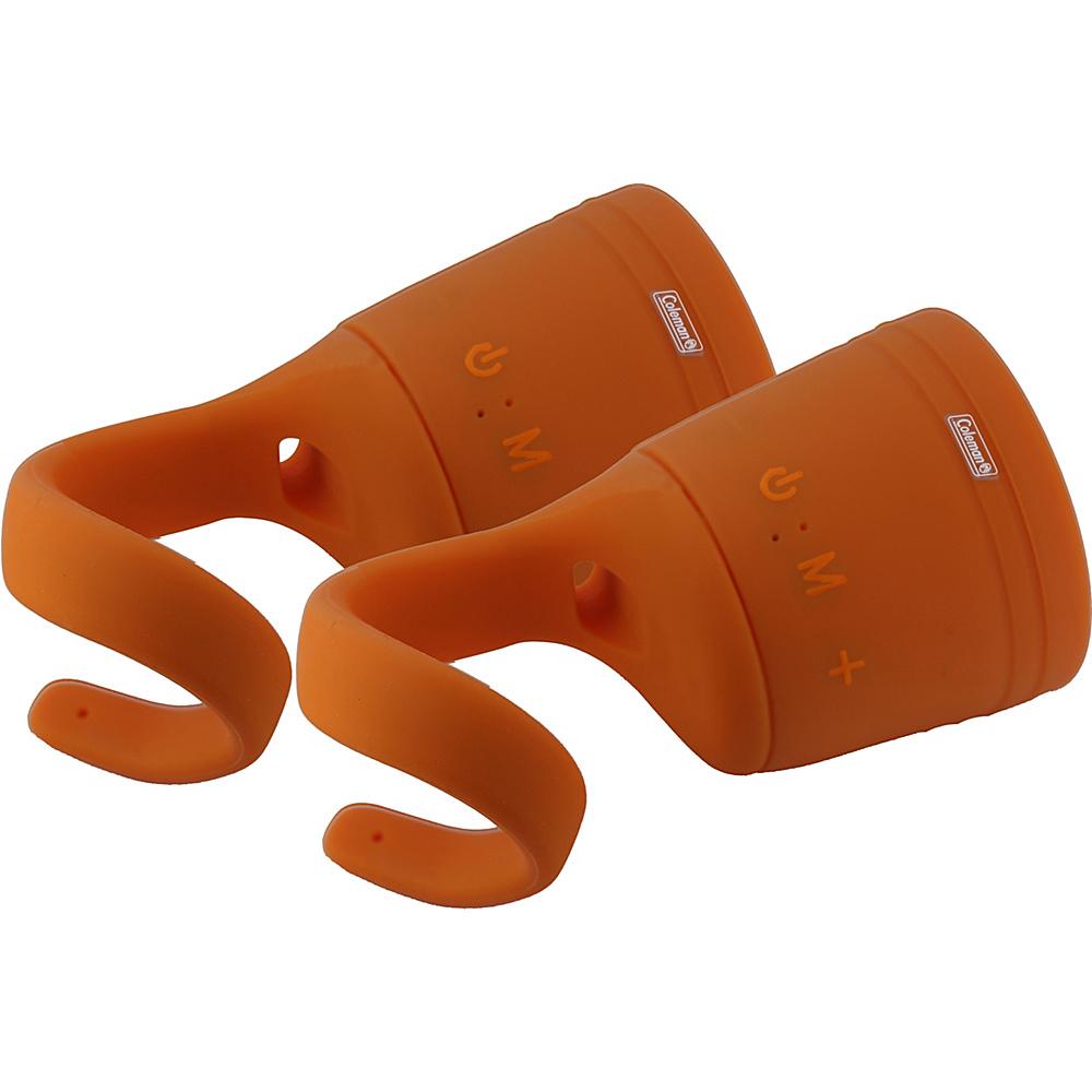 Coleman True Wireless Stereo Link Water Resistant Bluetooth Speaker Two Pack Orange Coleman Headphones Speakers