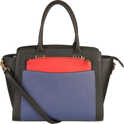Diophy Double Top Handle Large Tote Bag with Removable Strap Black - Diophy Manmade Handbags