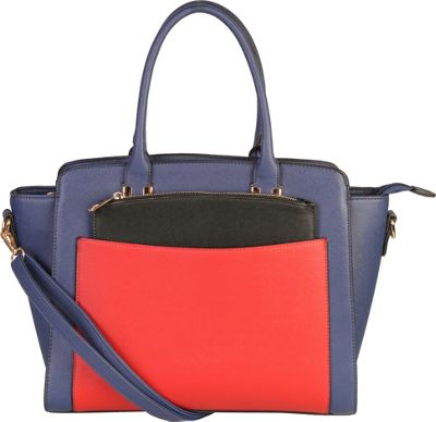 Diophy Double Top Handle Large Tote Bag with Removable Strap Blue - Diophy Manmade Handbags