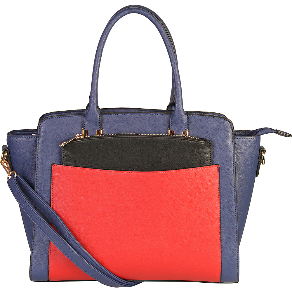 Diophy Double Top Handle Large Tote Bag with Removable Strap Blue Diophy Manmade Handbags