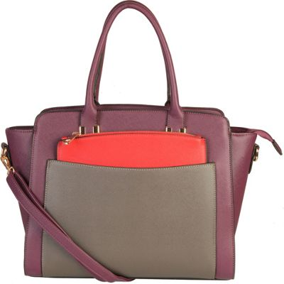 Diophy Double Top Handle Large Tote Bag with Removable Strap Purple - Diophy Manmade Handbags