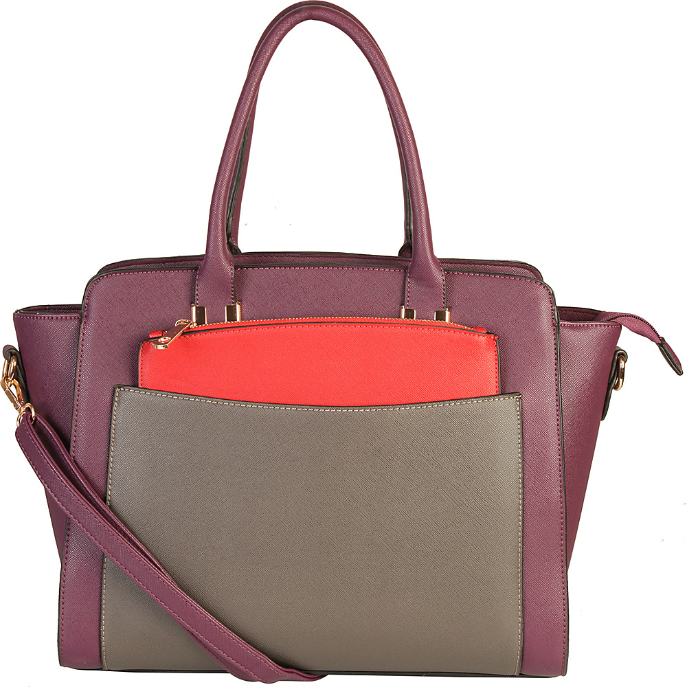 Diophy Double Top Handle Large Tote Bag with Removable Strap Purple Diophy Manmade Handbags
