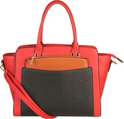 Diophy Double Top Handle Large Tote Bag with Removable Strap Red - Diophy Manmade Handbags