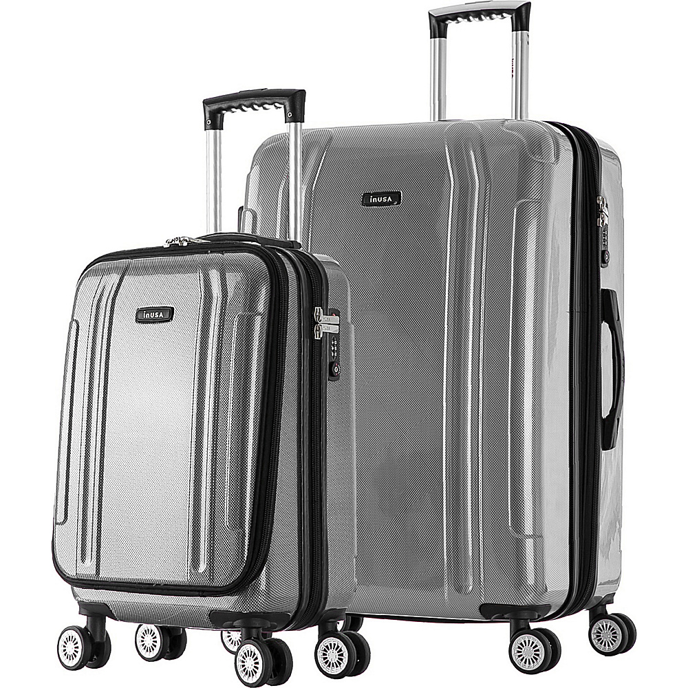 inUSA SouthWorld 19 23 2 Piece Hardside Spinner Luggage Set Silver Brush inUSA Luggage Sets