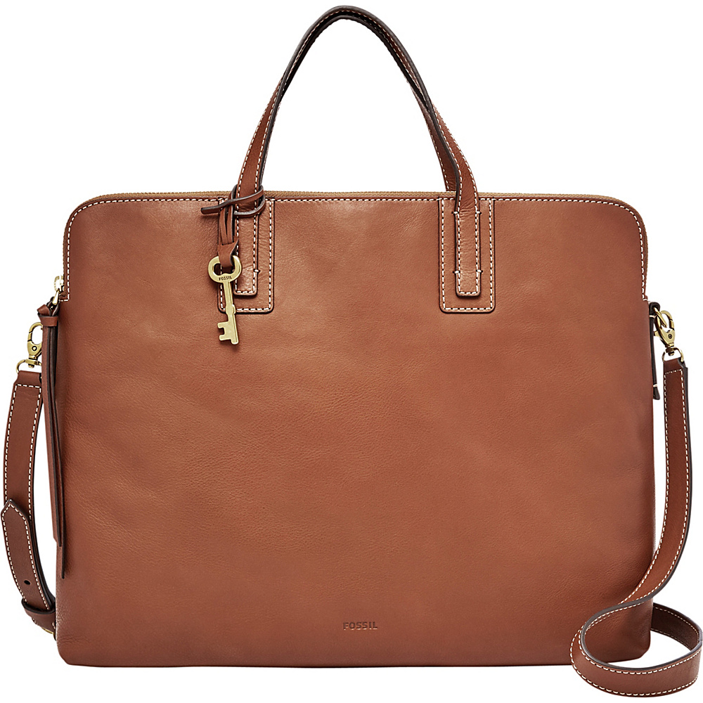 Fossil Emma Laptop Bag Brown - Fossil Leather Handbags - Handbags, Leather Handbags