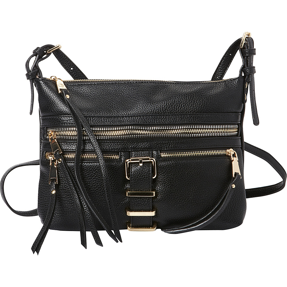 La Diva Dylan Multi Compartment Crossbody Black La Diva Manmade Handbags