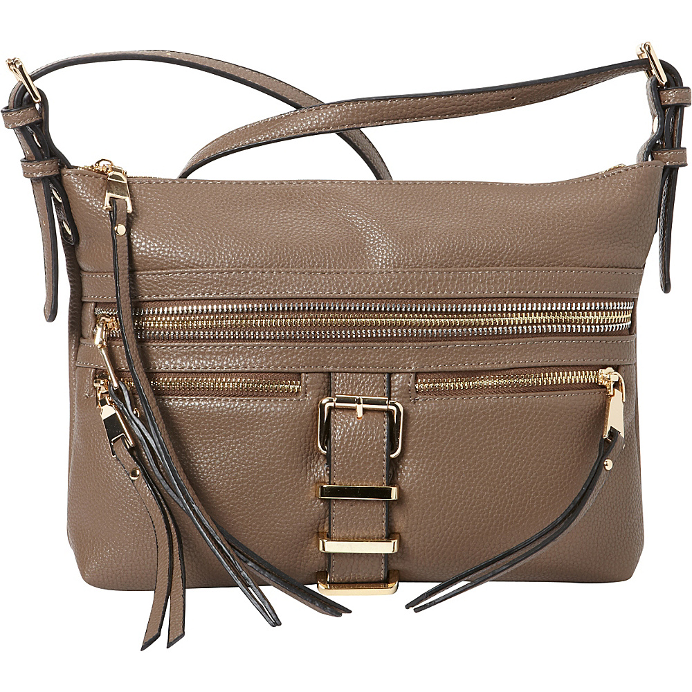 La Diva Dylan Multi Compartment Crossbody Taupe La Diva Manmade Handbags