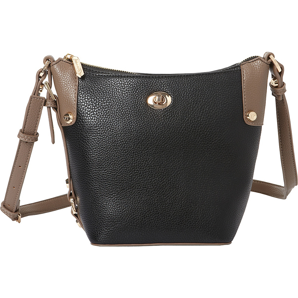 La Diva Tara Two Tone Crossbody Black Taupe La Diva Manmade Handbags