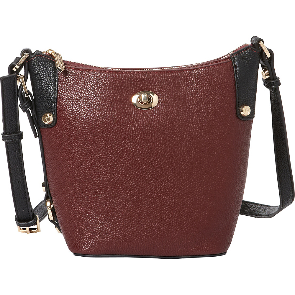 La Diva Tara Two Tone Crossbody Burgundy Black La Diva Manmade Handbags