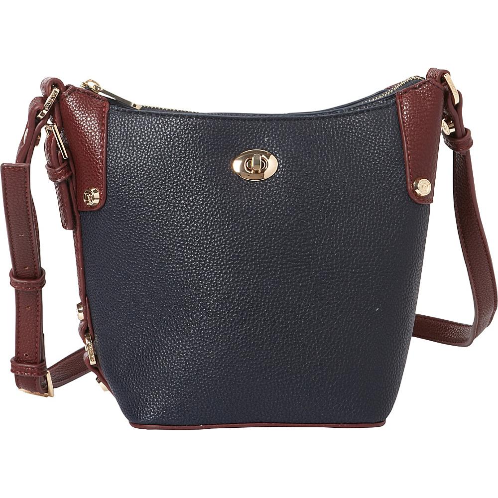 La Diva Tara Two Tone Crossbody Navy Burgundry La Diva Manmade Handbags