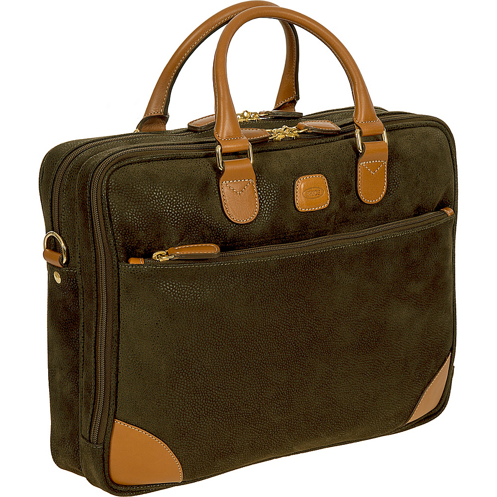 BRIC S Life Business Briefcase Large Olive BRIC S Non Wheeled Business Cases