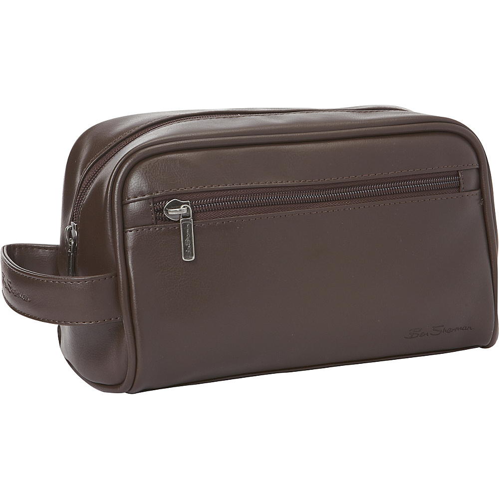 Ben Sherman Luggage Mayfair Collection Single Compartment Top Zip Travel Kit Brown Ben Sherman Luggage Toiletry Kits