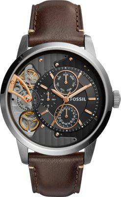 Fossil Townsman Twist Multifunction Leather Watch Brown -...