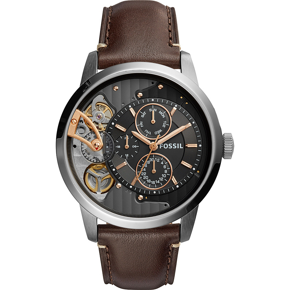 Fossil Townsman Twist Multifunction Leather Watch Brown - Fossil Watches - Fashion Accessories, Watches