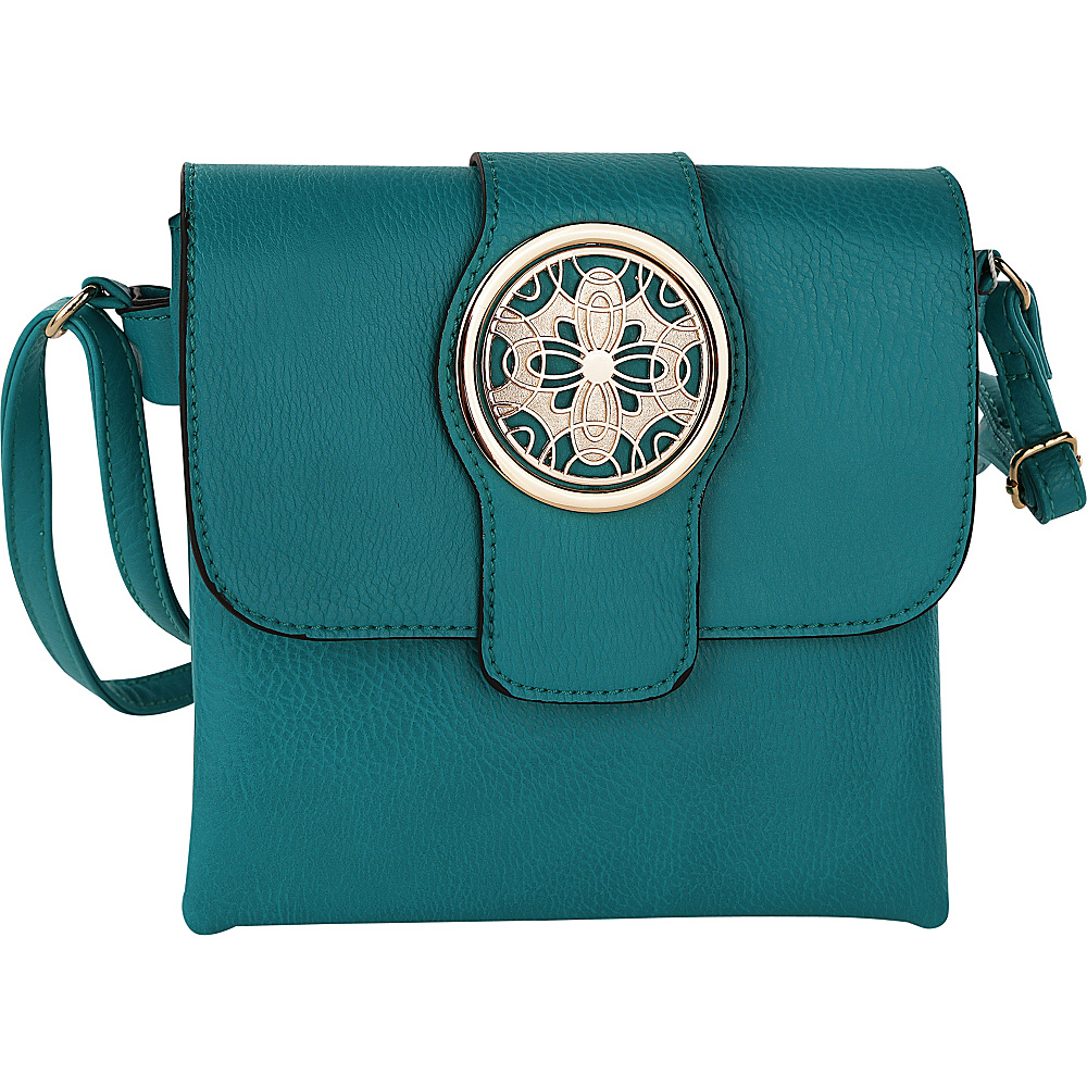 MKF Collection by Mia K. Farrow Daffodil Flower Accent Cross Body Bag By Mia K. Farrow Turquoise - MKF Collection by Mia K. Farrow Manmade Handbags - Handbags, Manmade Handbags
