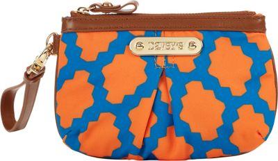 Davey's Small Wristlet Pouch Royal/Orange Tile - Davey's Fabric Handbags