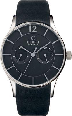 Obaku Watches Mens Multifunction Leather Watch Black/Silver - Obaku Watches Watches